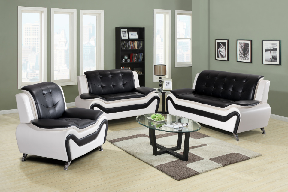 Lincoln 3 Pc Pu Leather Sofa Loveseat And Chair