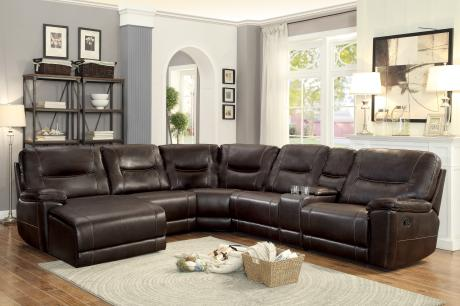Columbus Reclining Leather Gel Sectional Good Find Furniture